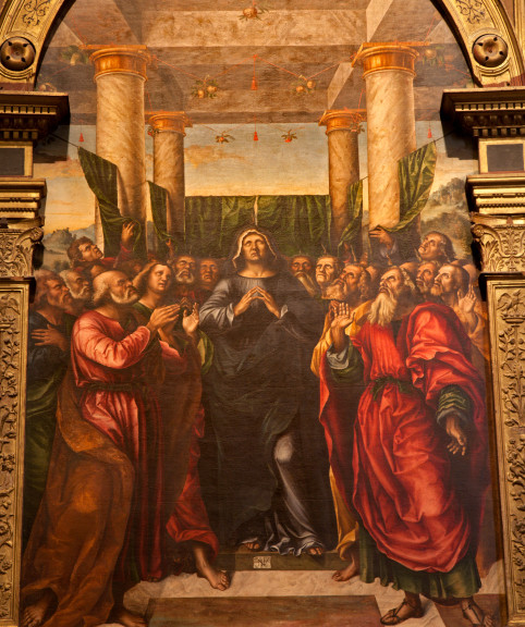 Verona - scene of the Pentecost in Saint Anastasia church