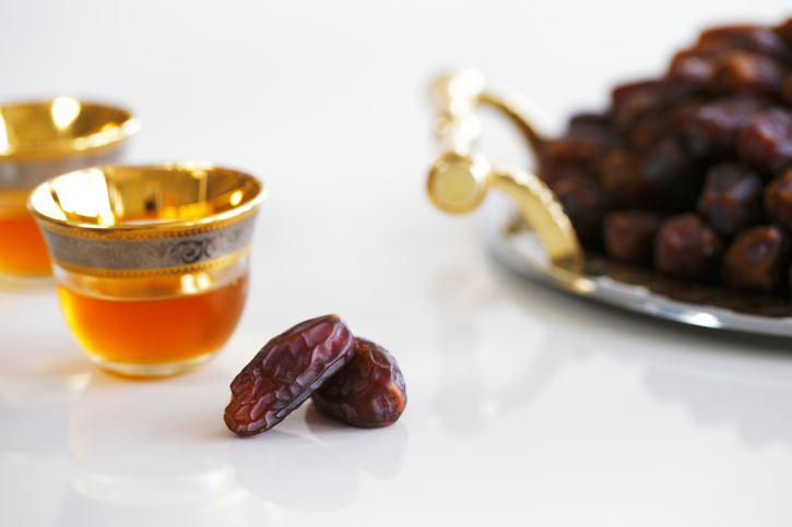 Dried dates and Arabic tea for Ramadan