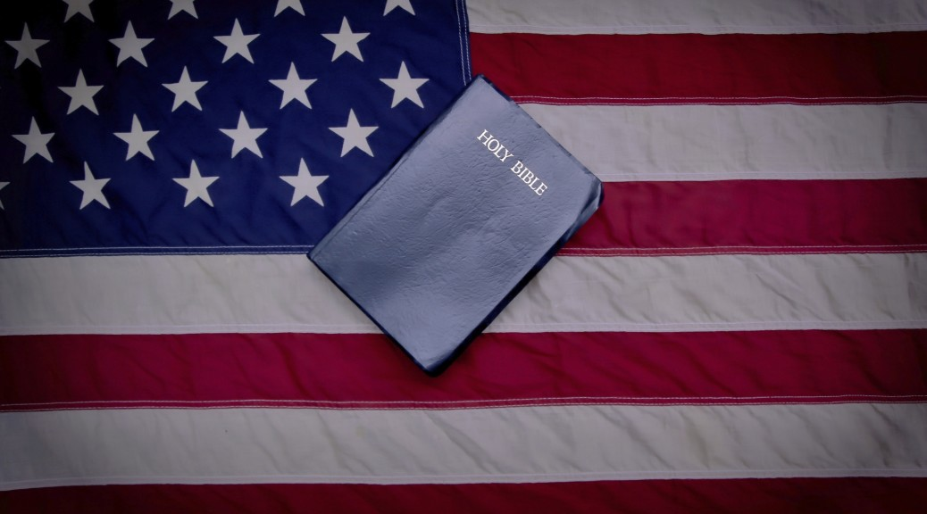 Bible set on top of American flag
