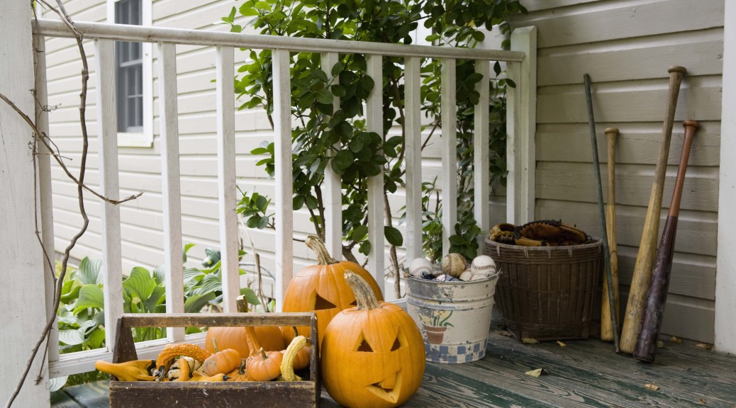 Halloween decorations on a porch